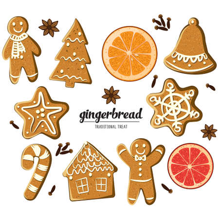 Set of different gingerbreads: man, Christmas tree, bell, star, snowflke, candy cane, house and citrus fruits slices. Vector illustrated Christmas treats collection Homemade cookies and fragrant spices