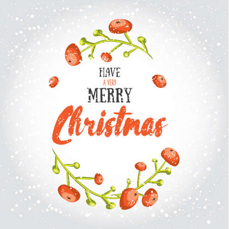 post card: Have a very merry Christmas! Vector illustrated greeting card template, post card design, invitation, envelopment, poster background with cartoon red berries and decorative winter lettering Illustration