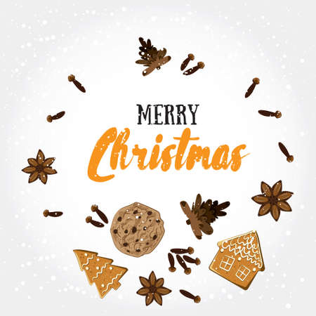 bisquit: Merry Christmas! Holiday greeting card with ginger bisquit, spices, pine cones and calligraphy elements. Modern lettering with cartoons background. Xmas decorative design template Illustration