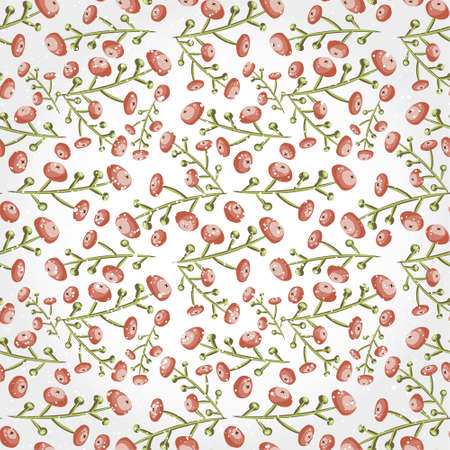 cowberry: Seamless red berry pattern. Tiled vector botanical backgrounv with cranberry. Decorative wrapping paper texture design. Cartoon floral ornament. Post card background.