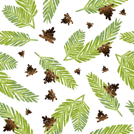 papaer: Happy New Year tiled ornament. Vector seamless pattern with fir twigs and pine cones. Hand drawn tile Christmas floral background template. Winter wrapping paper texture design