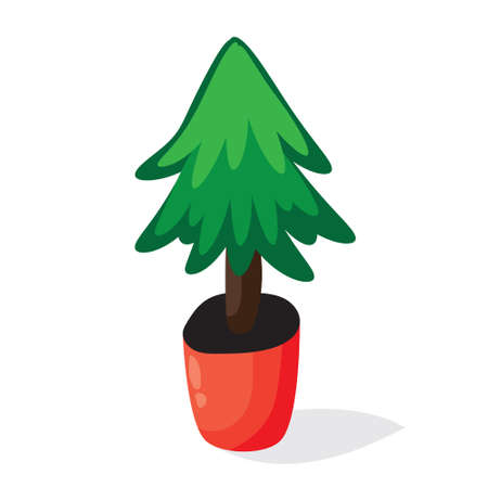 vetor: Cartoon Christmas tree in the pot. Flat vector illustration. Green fir isolated on white background