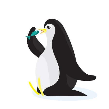 flightless: Cartoon penguin eating the fish. Flat vector illustration, isolated on white background