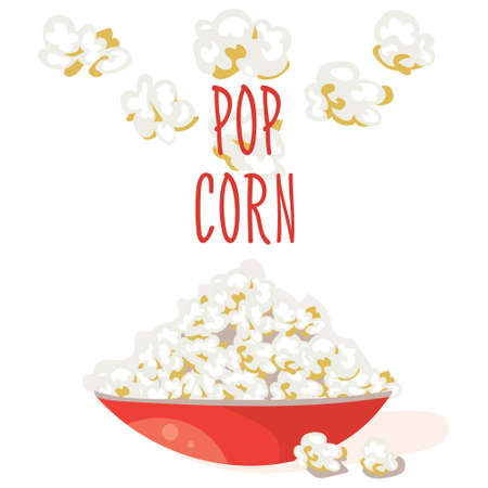 buttered: Pop Corn in a red bowl. Flat vector. Popcorn illustration, isolated on white background Illustration