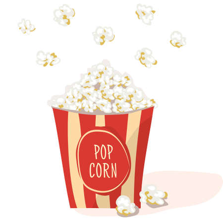 buttered: Pop Corn in a red stripped pack. Flat vector. Popcorn illustration, isolated on white background
