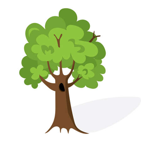 hedges: Cartoon green tree. Flat vector. Oak illustration, isolated on white background