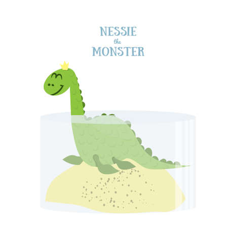 Nessie the Monster in the water .. Flat vector illustration. Loch Ness Monster isolated on white background Illustration