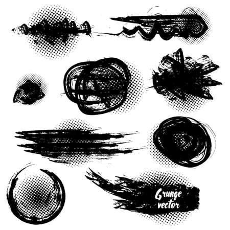 caligraphic: Set of black grunge brushes and design elements. Vector Illustration