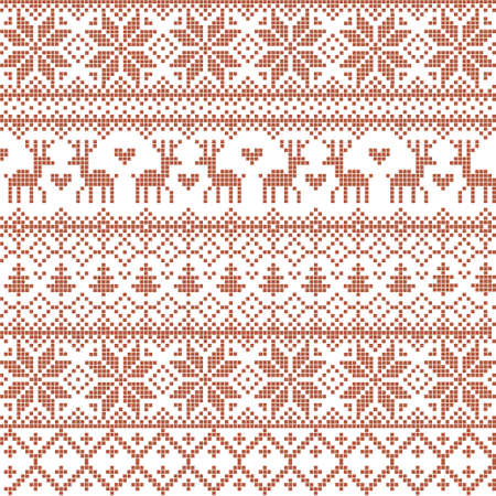 Vector illustrated traditional red nordic pattern with deers, hearts, snowflakes and Christmas trees Illustration