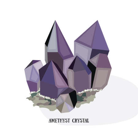 Amethyst shiny bright crystal. Purple quartz crystal. Isolated on white background vector iluustration