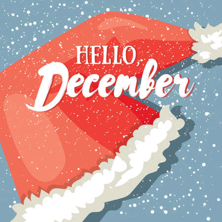 Hello, December post card. Winter greeting card with Santas hat and modern lettering. Vector illustration