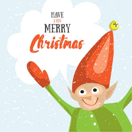 elf's: Little Santa helper wish you a Merry Christmas. Vector illustrated greeting card. Decorative poster template with little elfs. Holiday invitation. New Years party poster design. Illustration