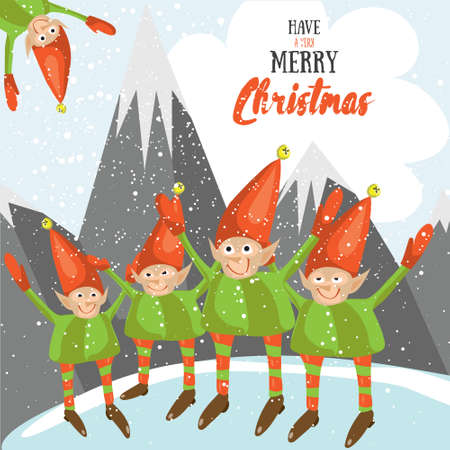 Little Santa helpers wish you a Merry Christmas. Vector illustrated greeting card. Decorative poster template with little elfs. Holiday invitation. New Years party poster design. Illustration