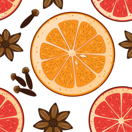 clove: Seamless pattern with anise star, orange and graipfruit slices and clove. Vector Christmas tiled background. Wrapping paper texture