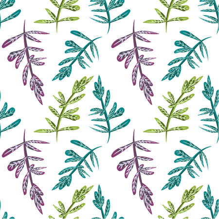 illustrated: Seamless natural background with blue, green and violet leaves. Tile botanical pattern. Vector illustrated tiled wallpaper. Decorative wrapping paper texture Illustration