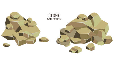 geological: Cartoon stone set. Brown rock with green grass collection. Vector illustration isolated on white background.