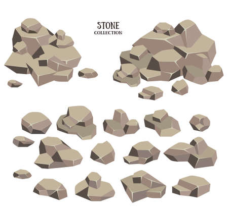 set pietra Cartoon. roccia Brown con la raccolta di erba verde. Illustrazione vettoriale isolato su sfondo bianco.