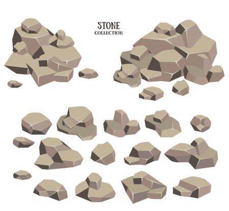 stenen cartoon set. Bruine steen met groen gras collectie. Vector illustratie op een witte achtergrond.