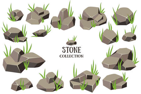 Cartoon stone set. Brown rock with green grass collection. Vector illustration isolated on white background.