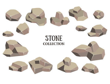 limestone: Cartoon stone set. Brown rock with green grass collection. Vector illustration isolated on white background.
