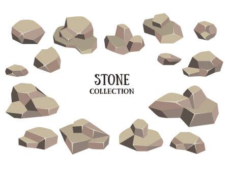 estableció piedra de la historieta. marrón de la roca con la recolección de la hierba verde. Ilustración del vector aislado en el fondo blanco.