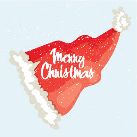 Merry Christmas post card. Winter greeting card with Santas hat and modern lettering. Vector illustration