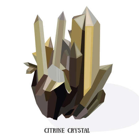 quartz crystal: Citrine shiny bright crystal.Yellow quartz crystal. Isolated on white background vector iluustration
