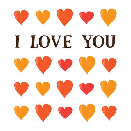 loe: I love you. Cartoon valentines day romantic greeting card template . Red and orange hearts on white background. Holiday flat vector post card design