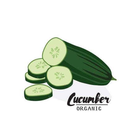 pepino caricatura: pepino de dibujos animados. vegetales verdes maduros. Vegetariana deliciosa. Eco alimentos orgánicos. vector de diseño plano, aislado en fondo blanco.