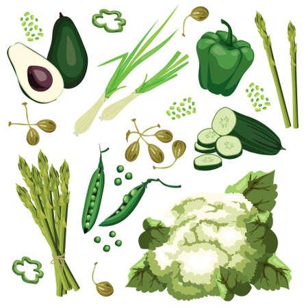 Conjunto de verduras verdes maduras. Aguacate, pepino, cebolla verde, pimiento dulce, coliflor, alcaparras y espárragos. Comida orgánica ecológica vegetariana. Diseño vectorial plano, aislado sobre fondo blanco. Vectores
