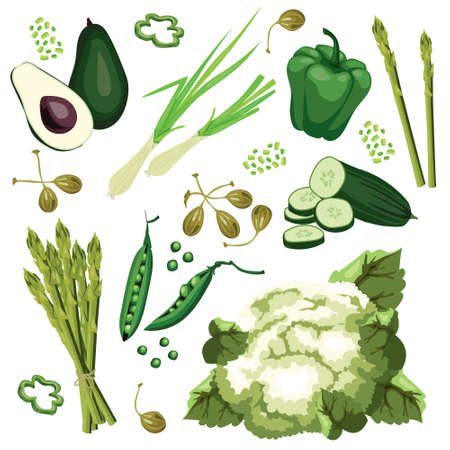 Set of ripe green vegetables. Avocado, cucumber, green onion, sweet pepper, cauliflower, capers and asparagus. Vegetarian eco organic food.  Flat vector design, isolated on white background.