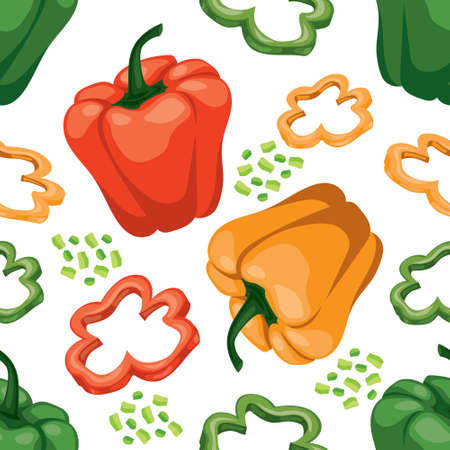 Seamless  vegetable background with red, green and yellow sweet peppers on white. Flat vector tile pattern. Vegetarian wrapping paper texture. Illustration