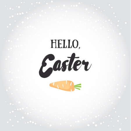 pascuas navideÑas: Hello, Easter. Holiday greeting card with calligraphy elements. Easter lettering with cartoon carrot. Vectores
