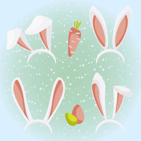 Bunny ears set. Flat vector illustration. Traditional Easter equipment. Fluffy cute bunny ears, colored eggs and carrot isolated on white background Illustration