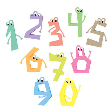 0 6: Funny numbers. Cartoon cute characters. Flat vector illustration, isolated on white background.