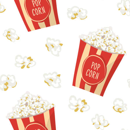 buttered: Pop Corn in a red stripped pack seamless pattern.  Flat vector food tile background. Popcorn wrapping paper texture. Illustration