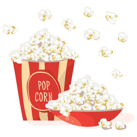 stripped: Pop Corn in a red bowl. with Pop Corn in a red stripped pack. Flat vector illustration, isolated on white background Illustration