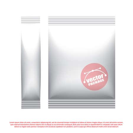 food and beverage: Foil stick packaging for the dry beverage, salt and spices. Plastic snack pack. Packaging mock up template. Good for food design. Vector illustrated Illustration
