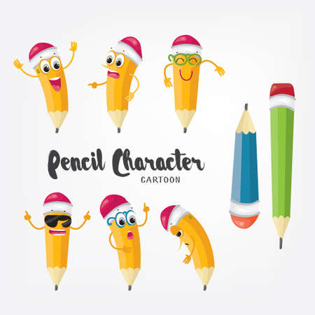 bookworm: Cartoon pencil character isolated on white. Emoji pencils illustrated design.