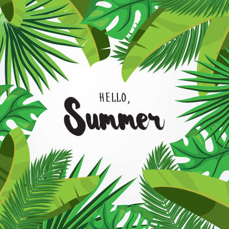 HI: Hello, Summer. Holiday greeting card with  tropical palm leaves and calligraphy elements. Handwritten modern lettering with cartoons background. Vector