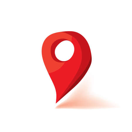 Red map marker icon. Flat vector illustration. White isolated. Illustration