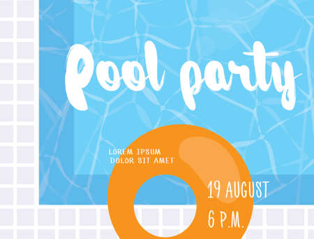 swiming: Pool party poster design template. Flat vector illustration with swiming pool and modern lettering elements. Illustration