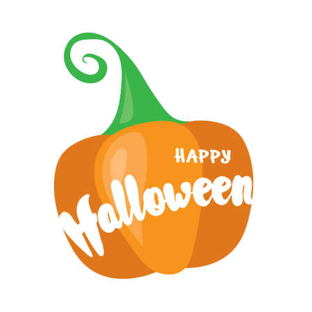 Happy Halloween post card design. Simply vector illustration with cartoon orange pumpkin and lettering elements. Ilustrace