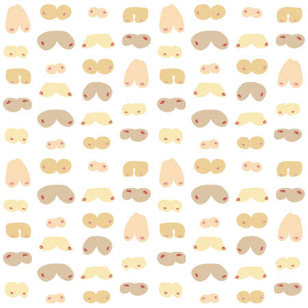 Seamless background with different types of women's breasts. Repeateble humorous pattern. Flat vector illustration