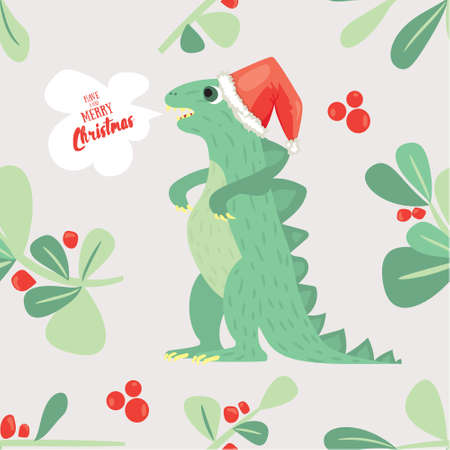 Cute Dino wish you to have a very merry Christmas. Holiday seamless pattern good for textile ar wrapping paper Illustration