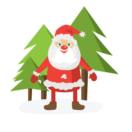Cartoon Santa in red hat and green christmas trees. Flat vector illustration template