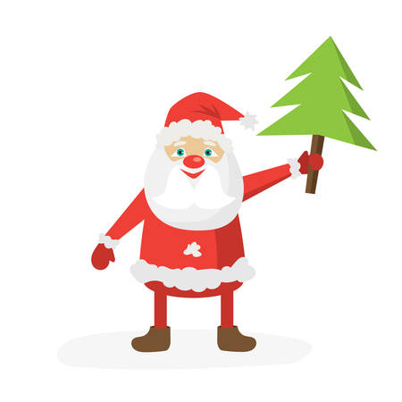 Cartoon Santa in red hat holding Christmas tree. Flat vector illustration template