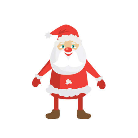 Cartoon Santa in red hat. Flat vector Christmas illustration template