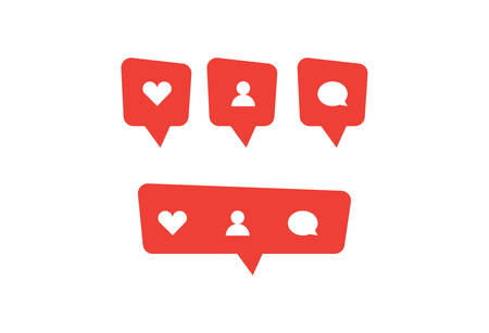 Red social media bubble shape with like heart, follower person, and comment icon. Simple flat design. Vector illustreted