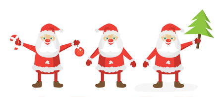 Cartoon Santa set. Flat vector illustration template. Merry Christmas!
